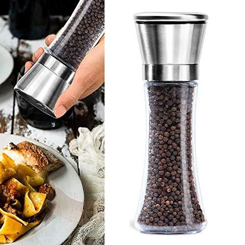 FISISZ keukenzout en pepermolen 6 oz roestvrijstalen molenshakers gemakkelijk te vullen