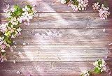 Telones de Fondo Cumpleaños Boda Tablero de Madera Flores de Primavera Tablones con borlas Decoración Fotografía Fondo Estudio fotográfico Photocall A36 9x6ft / 2.7x1.8m