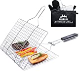 Grill Basket Stainless Steel Folding with Brush and Heat-Resistant Glove [Gifts] - Portable Outdoor Camping BBQ Accessories Rack for Grilling Fish, Chicken, Meat, Steak, Vegetables, Kabobs, Seafood