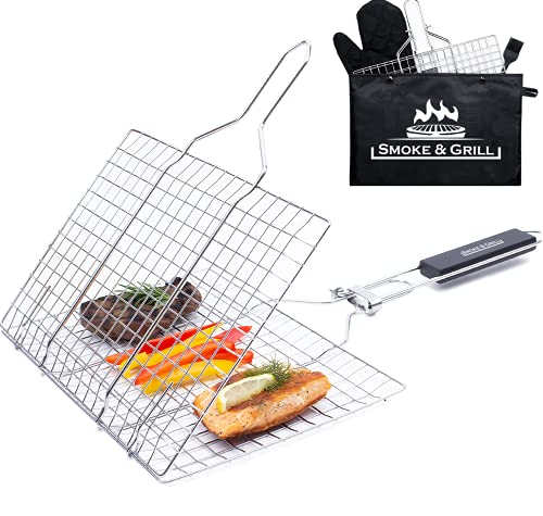 Grill Accessories Basket, Stainless Steel Large Folding Grilling Baskets with Handle, Portable Outdoor Camping BBQ Rack for Barbecue Fish Vegetables, Barbeque Griller Cooking Tools Gifts for Man