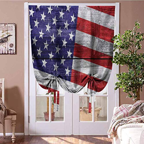 Roman Shades Curtains Window Valance Balloon Blind July Independence Day Commonwealth Country Emblem Patriotism Wooden Plank Looking Home Fashion Window Treatment Rod Pocket Panel, 42