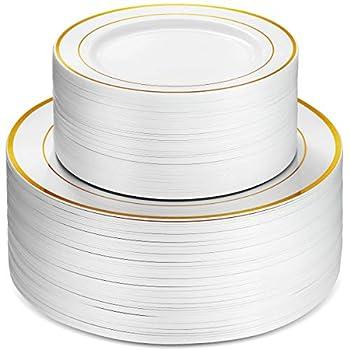 gold rim plastic plates