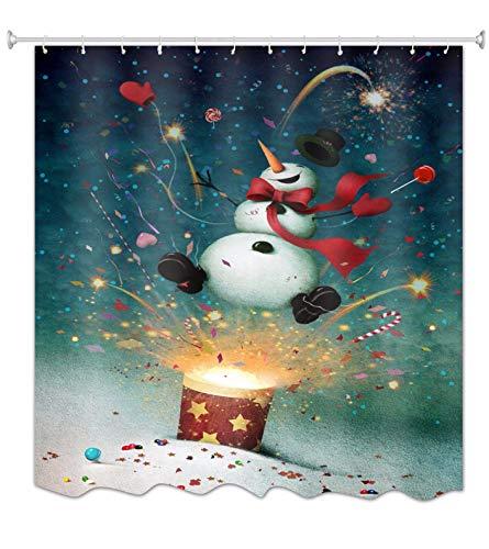 A.Monamour Duschvorhänge Lustige Schneemann Beleuchtung Feuerwerk Weihnachten Urlaub Dekorationen Gedruckt Wasserdicht Polyester Stoff Duschvorhang Für Badezimmer Dekorationen 180X200 cm