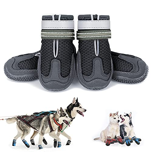 KEIYALOE Small Medium Large Dog Shoes for HotPavement Summer Breathable Mesh DogBoots Heat Protection Paw Dog Booties Adjustable Reflective Straps WaterproofNon-Slip Sole
