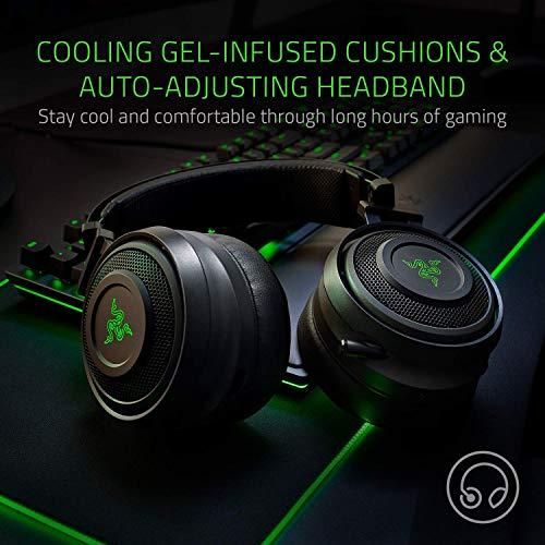 Razer Nari Wireless 7.1 Surround Sound Gaming-Headset: THX Audio – Kopfbügel & Drehschalen – Chroma RGB – einziehbares Mikrofon – für PC, PS4, PS5 – Schwarz