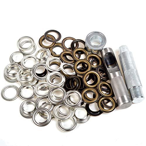 Ösen-Werkzeug-Set, 20 mm, große Ösen mit Unterlegscheibe, Tüll- und Stanzwerkzeug-Set für Lederhandwerk, Kleidung, Scrapbooking, Nähen, DIY-Projekte, rost- und korrosionsbeständig, 50 Sets