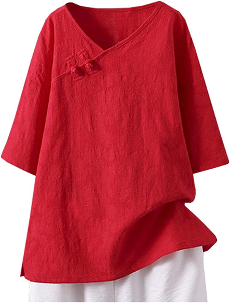 SCOFEEL Women's Cotton Linen Blouse Shirts Half Sleeve Jacquard Tunic Top T-Shirt with Chinese Style Buttons Plus Size