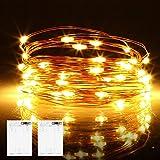 Micro LED Lichterkette Batterie, 2 Stück 6 Meter 60er LED lichterkette mit Timer IP65 Wasserdicht Draht Beleuchtung für Party, Garten, Hochzeit, Weihnachten,...