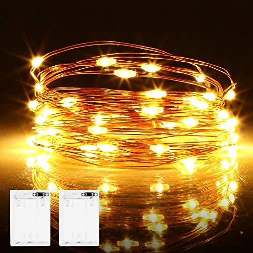 Micro LED Lichterkette Batterie, 2 Stück 6 Meter 60er LED lichterkette mit Timer IP65 Wasserdicht Draht Beleuchtung für Party, Garten, Hochzeit, Weihnachten, Halloween