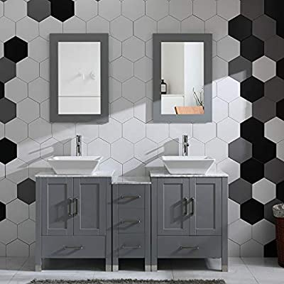 "60"" Bathroom Vanity Cabinet Double Sink Marble Top Solid Wood Grey Painted w/Mirror Faucet and Drain Set"