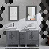 60' Bathroom Vanity Cabinet Double Sink Marble Top Solid Wood Grey Painted w/Mirror Faucet and Drain Set