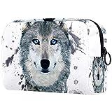 Neceser neceser bolsa de cosméticos con cremallera bolsa de viaje bolsa de embalaje pequeña bolsa de cosméticos para mujeres y hombres (estilo multicolor) acuarela gris cabeza de lobo