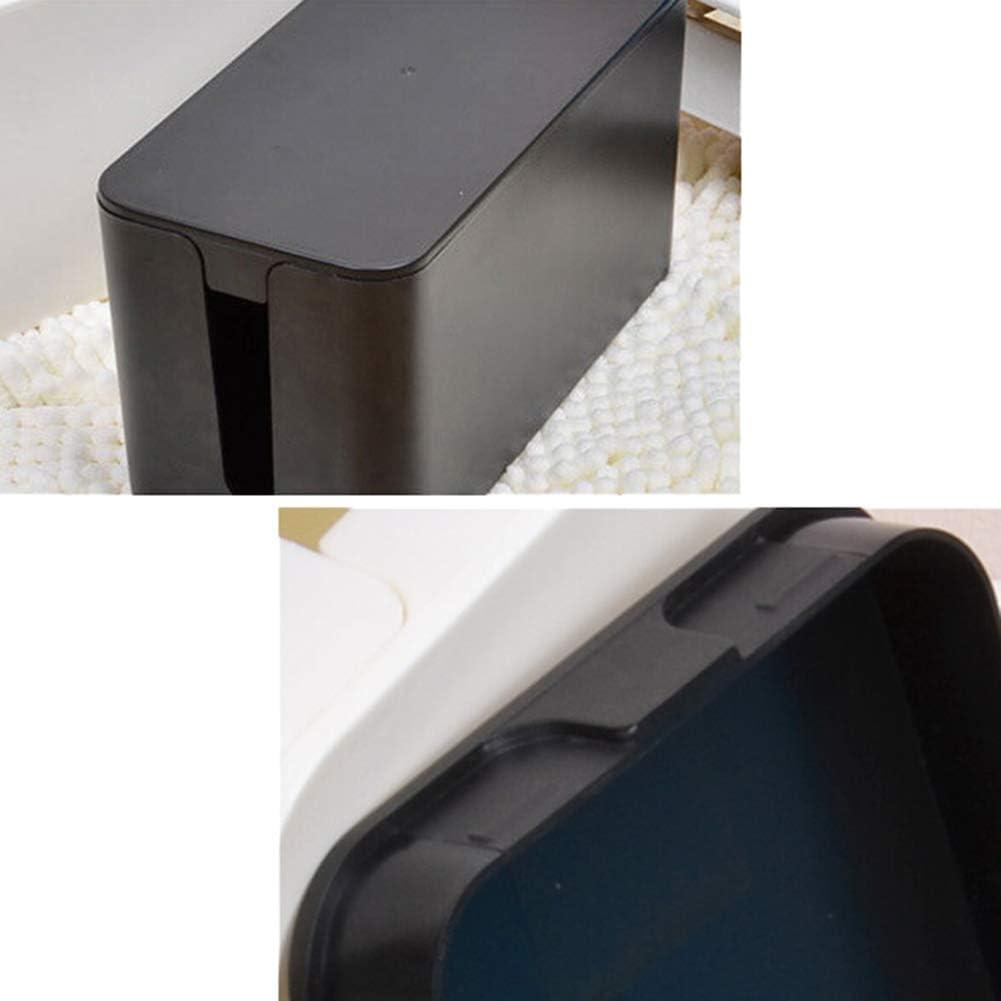 HUAhuako Plastic Storage Case Computer USB Hub Power Socket Cable Box Desktop Organizer Black S