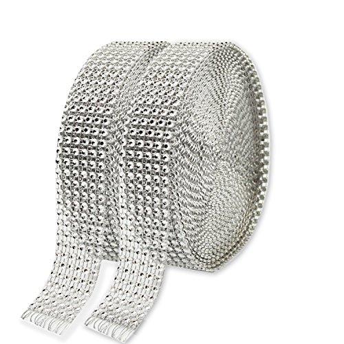 2pcs cinta de diamante hermosa KAKOO 6 fila 10 yardas / rollo de acrílico cintas de diamantes brillante de imitación para decorar pastel de cumpleaños y jarrons de velas decoracion navidad