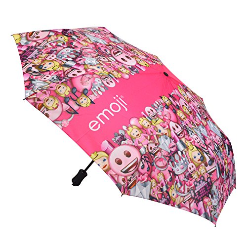 Emoji-automatisch openen en sluiten patroon compact paraplu - roze, 107 cm