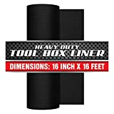 Precision Defined Professional Grade Tool Box Liner, 16' x 16 ft, Black | Non-Slip Thick Cabinet Shelf Liner