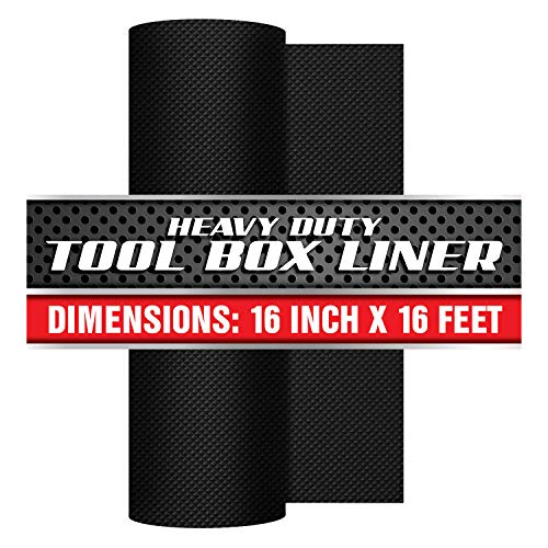 Precision Defined Professional Grade Tool Box Liner, 16' x 16 ft, Black | Non-Slip Thick Cabinet Shelf Liner