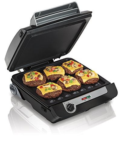 Hamilton Beach 4-in-1 Indoor Grill & Electric Griddle Combo with Bacon Cooker, Opens Flat to Double Cooking Surface, Removable Nonstick Plates, Black & Silver (25601)