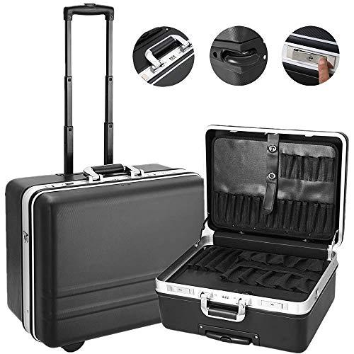 Voluker Werkzeugkoffer Leer Werkzeugtrolley Werkzeugkiste Werkzeugtasche (Schwarz 1)