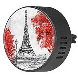 Clip di sfiato per diffusore di aromaterapia per auto pittura ad olio Torre Eiffel albero di acero Profumo di incenso deodorante per ambienti 2Pack