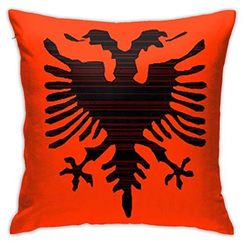 CVDGSAD - Funda de cojín decorativa con bandera de Albania, 45,7 x 45,7 cm