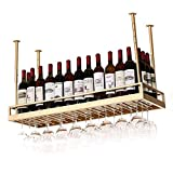 Estante para vino, bar, restaurante, estante para copas de vino, colgador para colgar en el hogar y soporte para vidrio, soporte de exhibición de botella de vino de metal montado en la pared, vintag