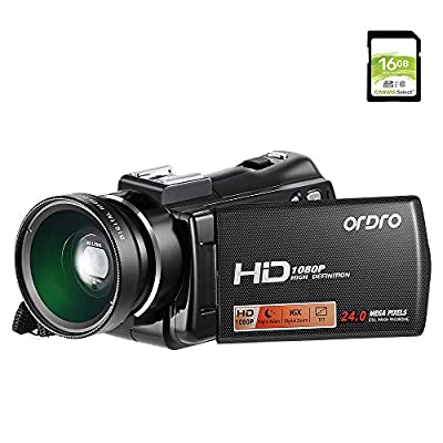 Video Camera Camcorder,Ordro V7 Plus Digital Camera Recorder with HD 1080P 16X Digital Zoom 3.0 Inch LCD 270 Degrees Rotatable Screen YouTube Vlogging Camera with Infrared Night Vision 16G SD Card from Ordro