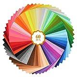 YOTINO 60 Pezzi Feltro Tessuto Artigianale Feltro colorato Fogli di Feltro Tessuto Non Tessuto Multicolore per Bambini Pannelli in Feltro in Feltro Fai-da-Te in feltro-15x15cm (Casuale)