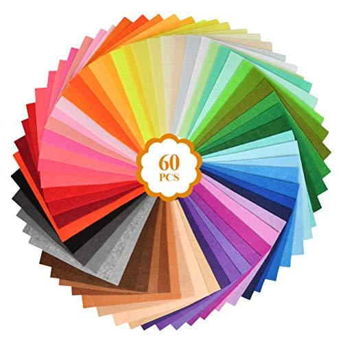 YOTINO 60 piezas fieltro artesanal fieltro para manualida desde fieltro de color hojas de fieltro de tela no tejida multicolores para niños DIY fieltro para manualidades-15x15cm (Color al azar)