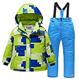 -30 Grados para niños, Snowboard de Invierno, Carga USB, Chaqueta térmica, Trajes de Nieve, cálido, Impermeable, Verde Azul (1 Juego), 16A (150,160 cm)
