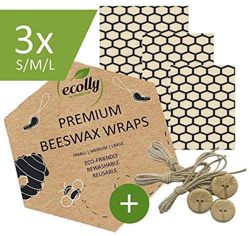 Ecolly Bienenwachstücher 3er-Set (S, M, L), Bienenwachspapier, Beeswax Wrap, Plastikfrei & wiederverwendbar, inklusive Knöpfe & Baumwollfäden - Honeycombs