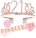 21st Birthday Gifts for Girl, 21st Birthday Tiara and Sash Pink, Happy 21st Birthday Party Supplies, Finally 21 Glitter Satin Sash and Crystal Tiara Birthday Crown for 21st Birthday Party Supplies