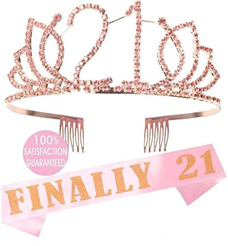 21st Birthday Gifts for Girl, 21st Birthday Tiara and Sash Pink, Happy 21st Birthday Party Supplies, Finally 21 Glitter Satin Sash and Crystal Tiara Birthday Crown for 21st Birthday Party Supplies