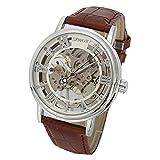 SEWOR orologio scheletrato da uomo in stile vintage a carica manuale meccanico con cinturino in pelle marrone (Bianco)