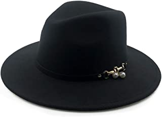 Fashion Sun Hat for Wool Women Fedora Hat Pearl Pendant Leather Belt Lady Wide Brim Outblack Panama Hat Top Jazz Hat Suitable for hot Weather Season (Color : Black, Size : 56-58CM)