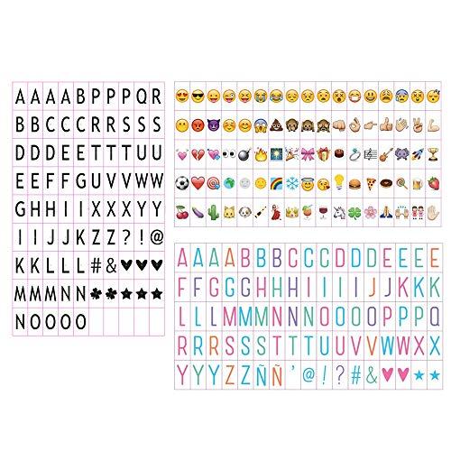 Emsmil Klein Buchstaben Set Buchstaben Zahlen Symbole Black Farbe Buchstaben, Pastell Farbe Emojis For LED Lightbox Leuchtkasten Erweiterung A4 Cinematic Lichtbox
