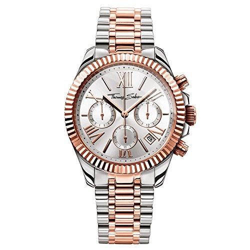 Thomas Sabo Damen-Armbanduhr Chronograph Quarz Edelstahl WA0221-272-201-38 mm