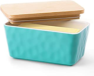 Krokori Butter Dish, Stoneware Ceramic Butter Dish Butter Container Margarine Dish Covered Butter Keeper with Wooden Lid Food Storage Box for Daily Use (Aquamarine)