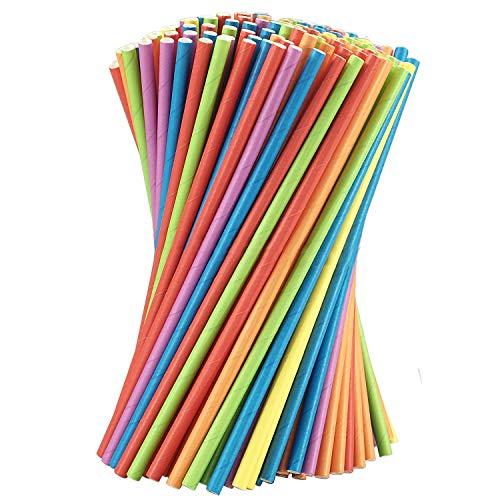 Bunte Strohhalme 200 Trinkhalme Trinkröhrchen bunt aus Papier 20cm lang in 6 Farben (rot, grün, orange, blau, gelb, rot) für Kindergeburtstag, Hochzeit, Gartenparty, Cocktail. FSC® Mix 70%.