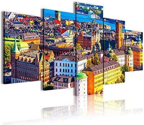 ERSHA 5 st canvas HD-tryck icke-vävda bilder abstraktion konst sträckt inramat konstverk hem kontor moderna dekormålningar Stockholm Panorama Living