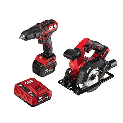 SKIL 2-Tool Combo Kit: PWRCore 12 Brushless 12V 1/2 Inch Cordless Drill Driver and 5-1/2 Inch Brushless Circular Saw, with 4.0Ah Lithium Battery and PWRJump Charger - CB742701