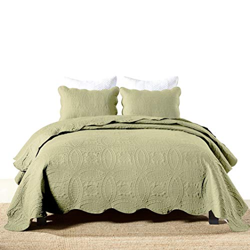 Jameswish Turquoise Quilt Set King Size Plain Solid Color Matelasse Embossed Bedspread Coverlet Set Chic Embroidery Stitched Ultra Soft Garment Wash Microfiber Bed Quilted Comforter Cover 3 Piece
