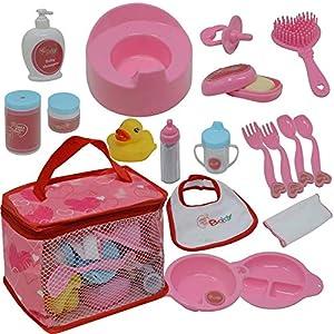 The New York Doll Collection Bebé Muñeca Alimentación Y Cuidado Accesorio Conjunto en Estuche de Transporte con Cremallera - 20 Accesorios para Muñecas