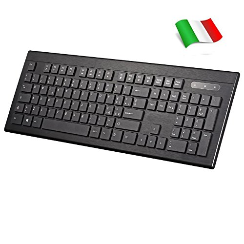 TOPELEK Tastiera 2.4GHz Wireless Italiana Ultrasottile, Keyboard Italiano Silenzioso Design Ergonomico, Tastiera Senza Fili con 104 Tasti QWERTY per Windows XP/7/8/10, Vista e Mac,PS4, Xbox,TV Box