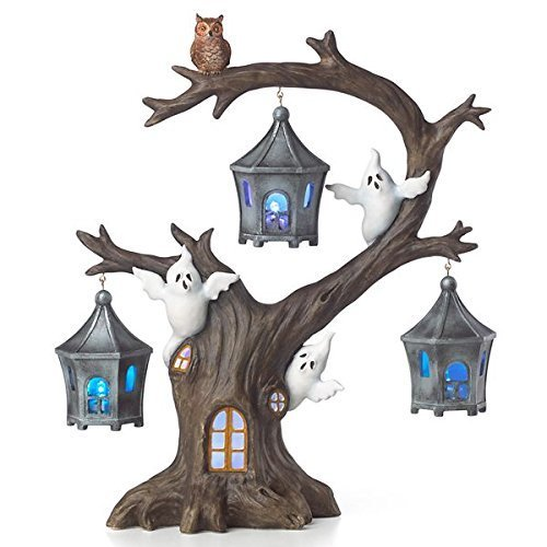"""Lenox Halloween A Ghostly Ghoulish Halloween Lighted Tree with Ghosts and Owl 12"""" New"""