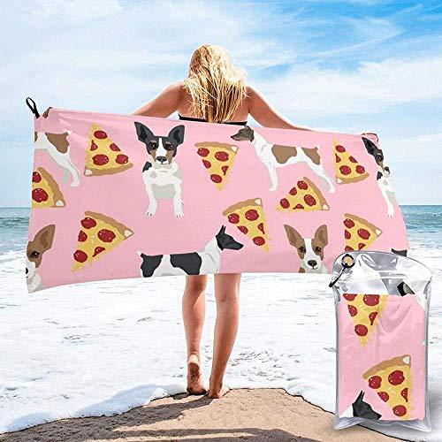 Toalla De Playa De Secado Rápido Rat Terrier Perro Impreso Microfibra Ligero Toallas De Baño Adecuado para El Hogar Niños Y Adultos Camping Natación Yoga-31.5'X63'
