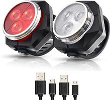 Hually LED Fietsver Lichting Set, USB Oplaadbare,4 Lichtmodi,Waterdichte Wit Fietslicht en Rood Achterlicht, 800mAh...