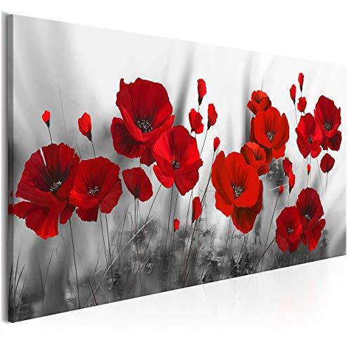 decomonkey Bilder Blumen Mohnblumen rot 100x45 cm 1 Teilig Leinwandbilder Bild auf Leinwand Vlies Wandbild Kunstdruck Wanddeko Wand Wohnzimmer Wanddekoration Deko Natur Weiße Grau Modern