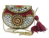 Rosso Shell bag pochette in metallo indiano etnico Sacchetto di Metallo mosaico frizione Antico Portafoglio borsa partito borsa da sposa