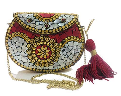 Bolsa de concha roja embrague de metal Bolso de metal étnico indio Bolsa de embrague de mosaico Monedero antiguo Bolso de fiesta para mujer Caja de boda Bolso de novia